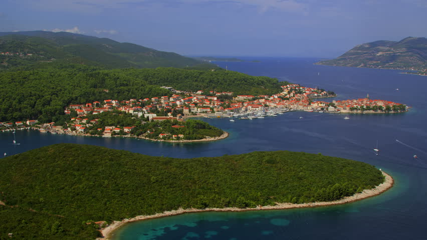 Aerial helicopter shoot of Korcula old town. Dubrovnik archipelago - HD stock video clip
