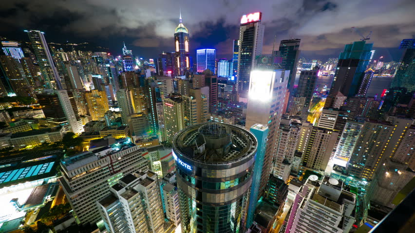Hong Kong at night from roof, timelapse | Shutterstock HD Video #2846050