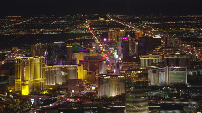 Las Vegas, Nevada circa-2107, High angle aerial view of Las Vegas Strip at night. Shot with Cineflex and RED Epic-W Helium. | Shutterstock HD Video #28477609