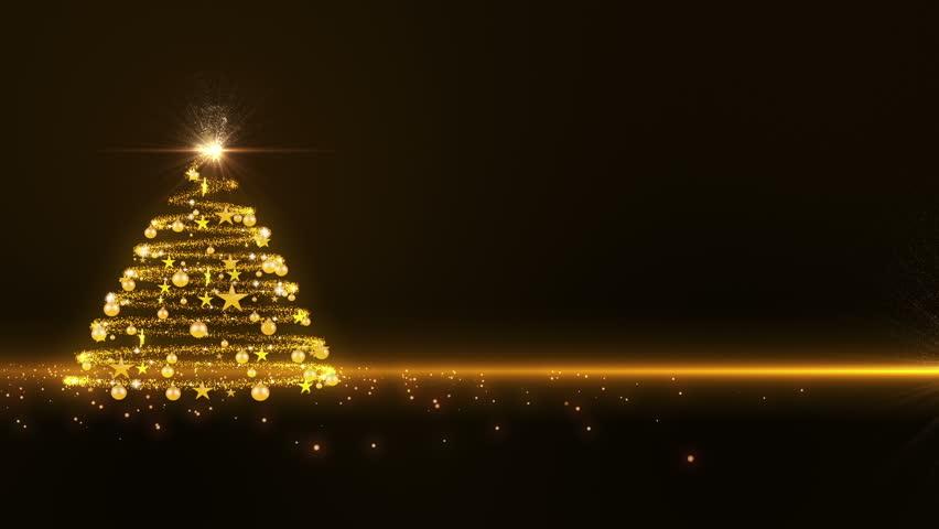 Gold lights Christmas Tree | Shutterstock HD Video #2852917