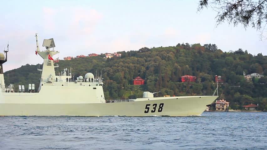 ISTANBUL - AUGUST 9: Chinese Jingkai II (Type 054A) class frigate, 538 Yantai of