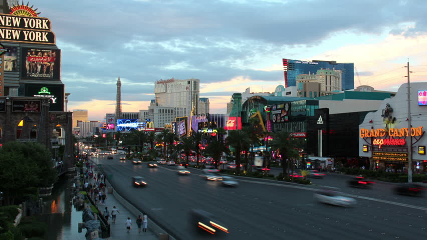 LAS VEGAS, NEVADA - October, 2012: A time lapse shot of a busy Las Vegas