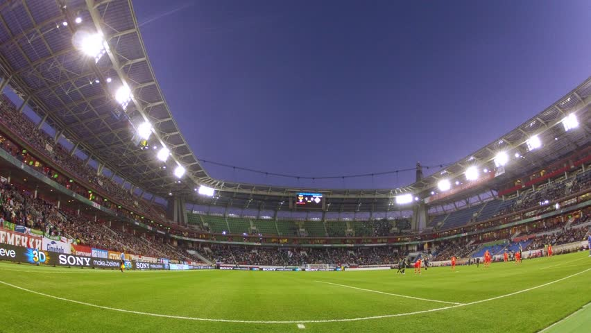 MOSCOW - SEP 7: (Timelapse View) Team of Russia and Northern Ireland play on Locomotive stadium, qualifying tournament to FIFA World Cup of 2014, on Sep 7, 2012 in Moscow, Russia