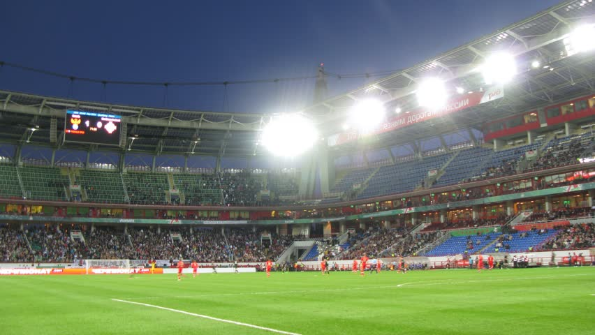 MOSCOW - SEP 7: (Timelapse View) Team of Russia and Northern Ireland meet on Locomotive stadium, qualifying tournament to FIFA World Cup of 2014, on Sep 7, 2012 in Moscow, Russia