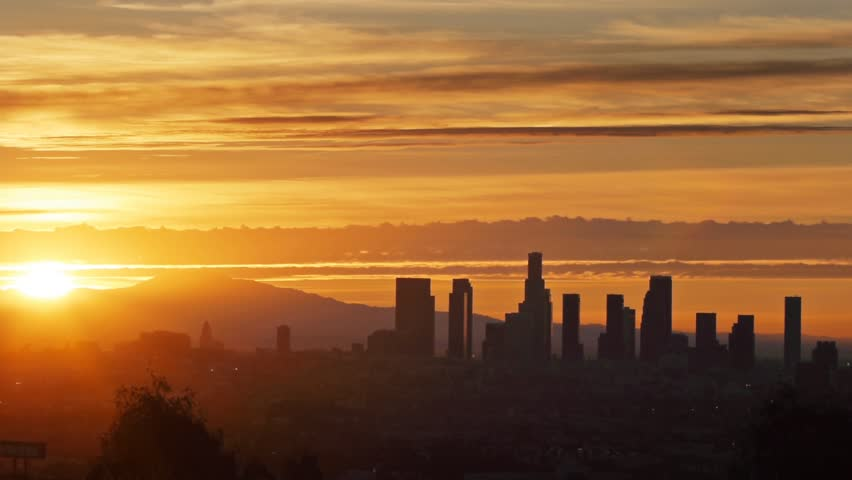 Sunrise over Los Angeles city