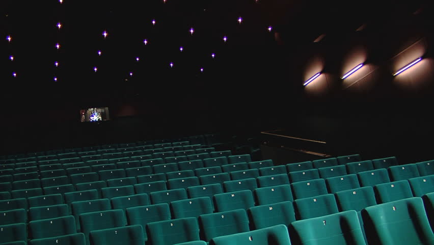 Stock Video Footage pan of dark green cinema hall  - HD stock footage clip