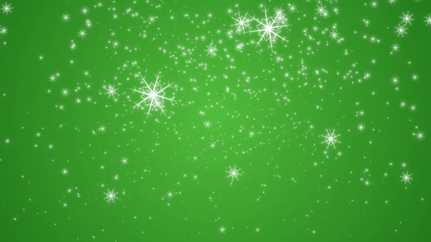 Snowflakes Are Moving Across A Green Background Stock ...