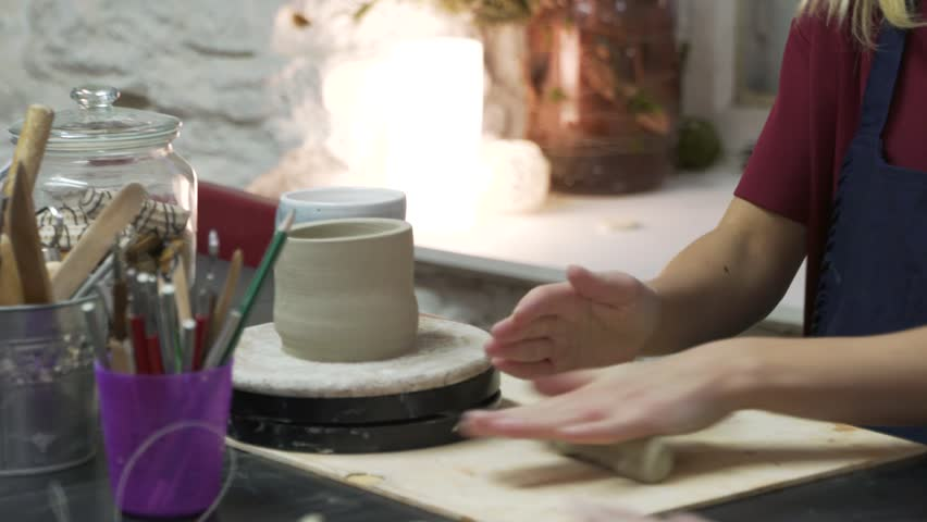 Preparing clay for pottery work | Shutterstock HD Video #28973203