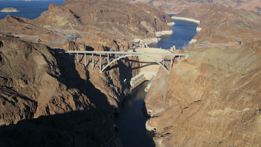 Aerial view Hoover Dam producing hydroelectricity Colorado River Bridge on US 93 near Las Vegas Nevada USA RED EPIC | Shutterstock HD Video #29009212