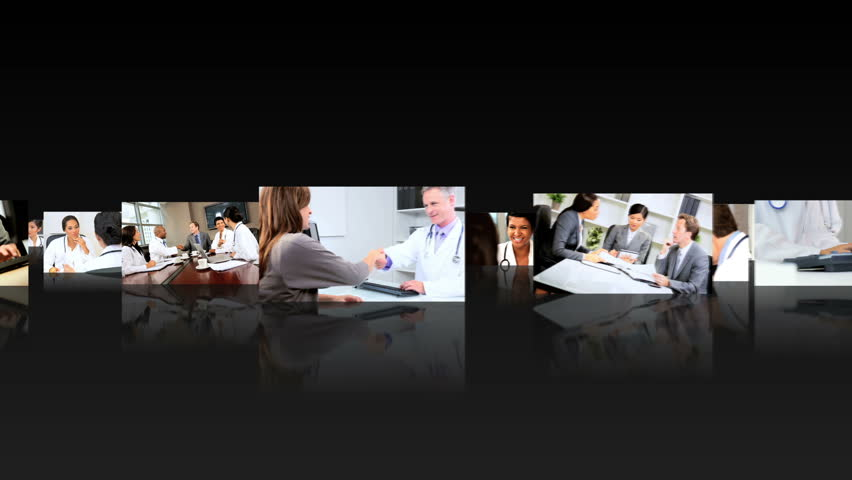 Montage fly through 3D images of medical multi ethnic professionals meeting together managers consultants - HD stock video clip