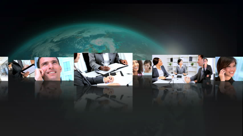 Montage 3D images of business people communicating by tablet and smart phone technology