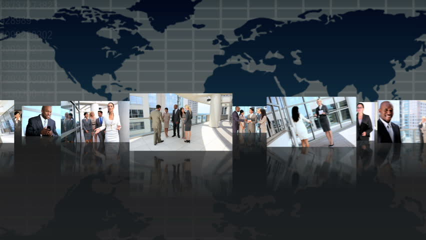 Montage 3D fly through view featuring successful multi ethnic groups of business people from around the world