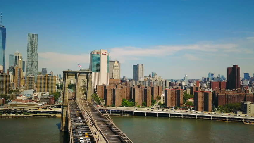 Aerial drone view of Brooklyn Bridge and the Hudson River | Shutterstock HD Video #29109922