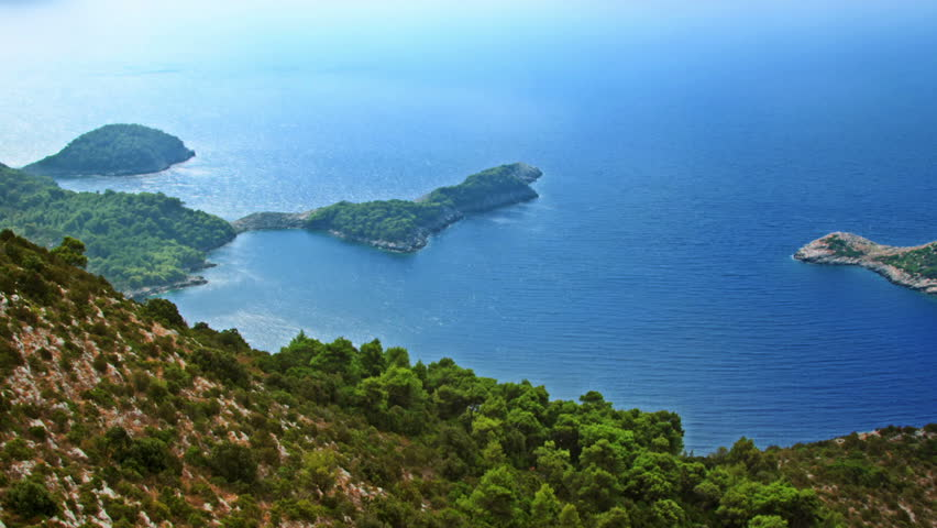 Helicopter aerial shoot of island Mljet - a tourist destination in Dubrovnik archipelago, Croatia - HD stock footage clip
