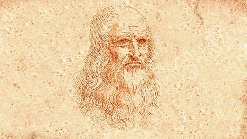 Leonardo Da Vinci winks and smiles (animation) - HD stock video clip