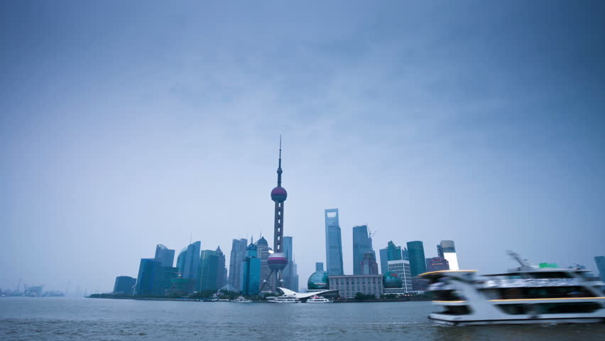 night scene of shanghai,from day to night,time lapse