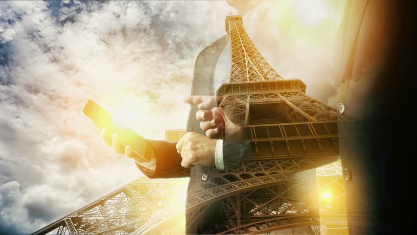 Eiffel Paris Cityscape Businessman using digital tablet. Double exposure. | Shutterstock HD Video #29194288