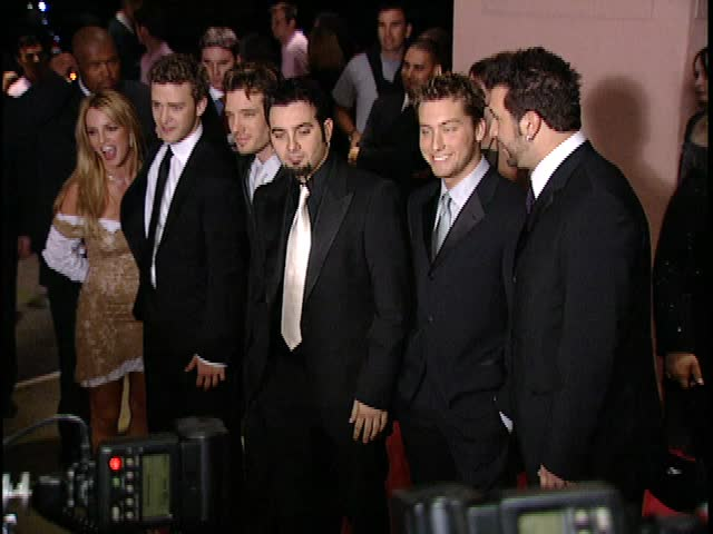 Beverly Hills, CA - FEBRUARY 26, 2002: Britney Spears, Justin Timberlake, JC Chasez, Chris Kirkpatrick, Lance Bass, Joey Fatone, arrive at the Clive Davis Grammy Party at the Beverly Hills Hotel