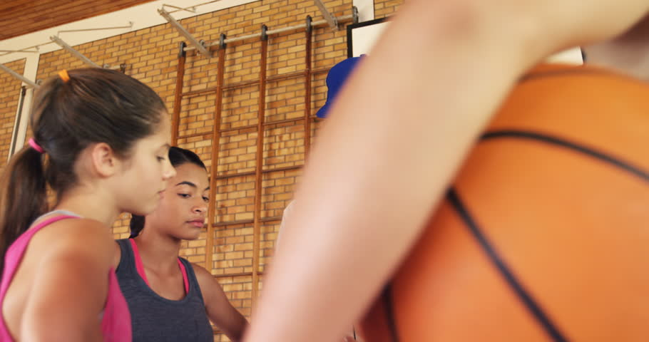 Male coach mentoring high school kids in basketball court | Shutterstock HD Video #29212207