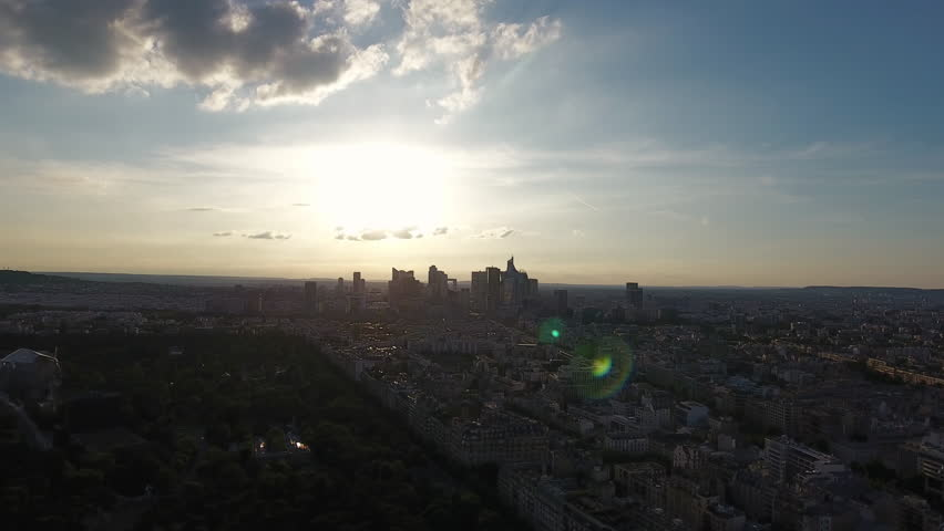 Paris Sunset Skyline Aerial View | Shutterstock HD Video #29226715
