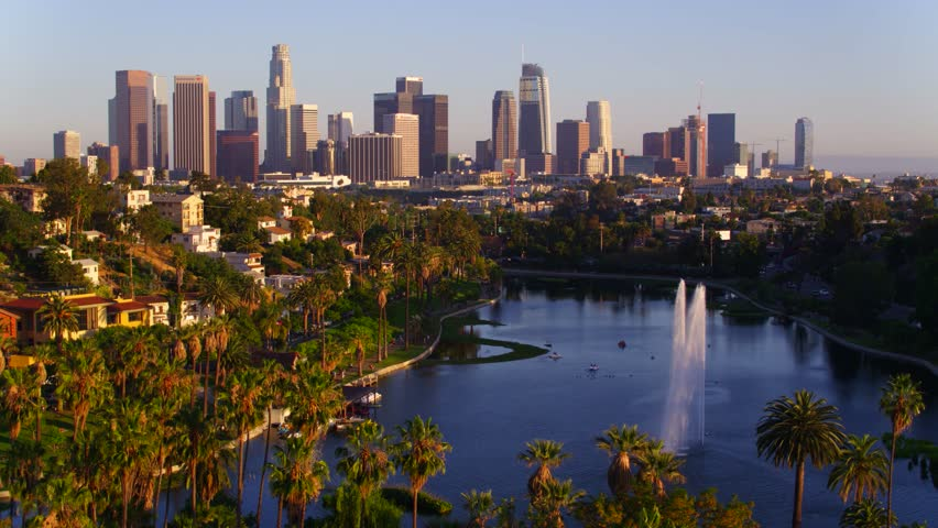 Echo Park Fountains with view of Downtown Los Angeles   Shutterstock HD Video #29228623