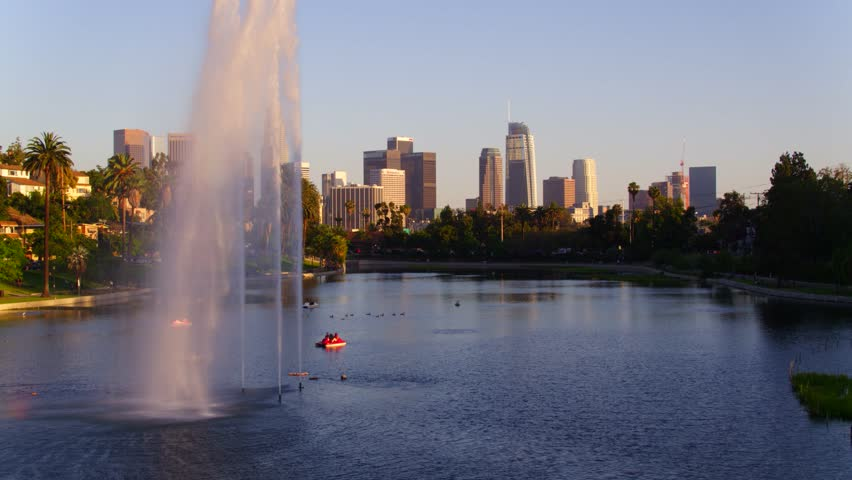 Echo Park Fountains with view of Downtown Los Angeles   Shutterstock HD Video #29228668