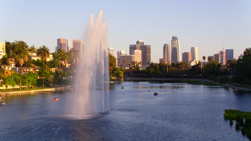 Echo Park Fountains with view of Downtown Los Angeles   Shutterstock HD Video #29228686