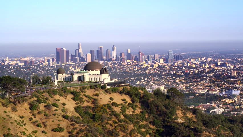 Griffith Park Observatory and view of Downtown Los Angeles   Shutterstock HD Video #29228767