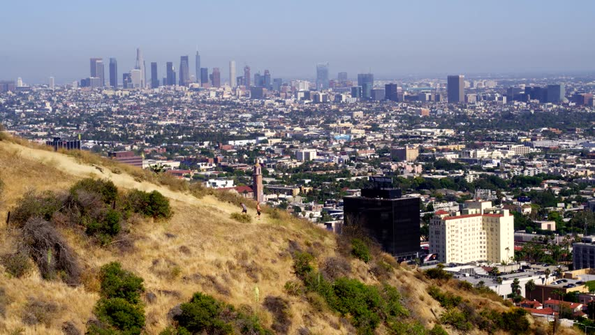 Hiking Runyon Canyon with a View of Los Angeles   Shutterstock HD Video #29228794