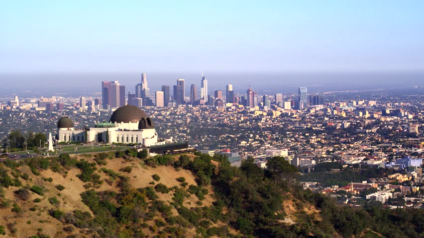 Griffith Park Observatory and view of Downtown Los Angeles   Shutterstock HD Video #29228812
