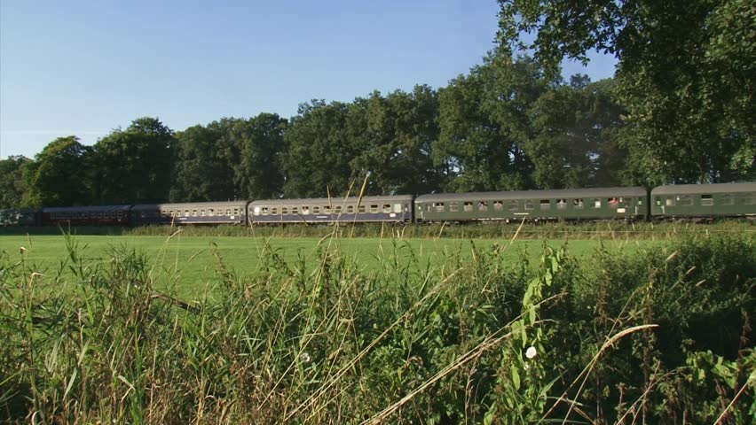 train wagons run slowly in in rural landscape