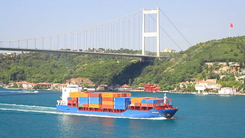 ISTANBUL - JUL 5: Container Ship MONSUN (IMO: 9388417, Antigua Barbuda) on July