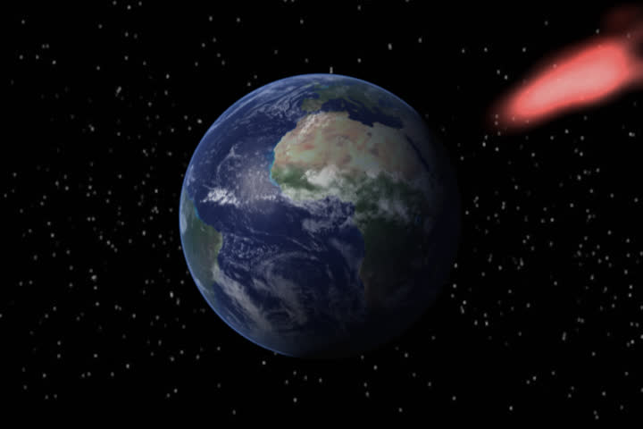 A Meteor Strikes Earth Causing A Cataclysm. Stock Footage ...