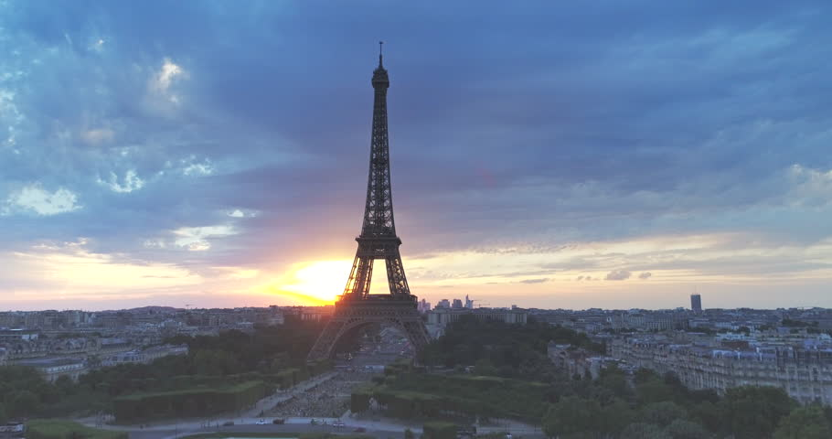 Aerial view of Eiffel tower during sunset, Paris  | Shutterstock HD Video #29481856