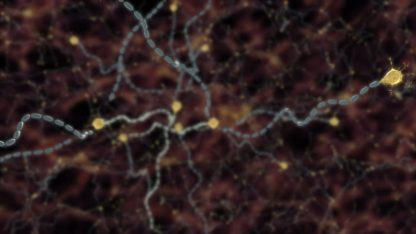 Animation of action potential conduction down axon myelinated by Schwann cell or oligodendrocyte and showing immune cell attacking myelin sheath leading to scarring or damage autoimmune disease  - HD stock footage clip