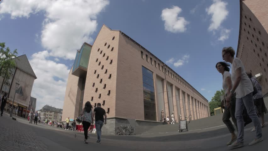 FRANKFURT, GERMANY, JULY 2017 – History museum in Frankfurt, fisheye wide-angle footage