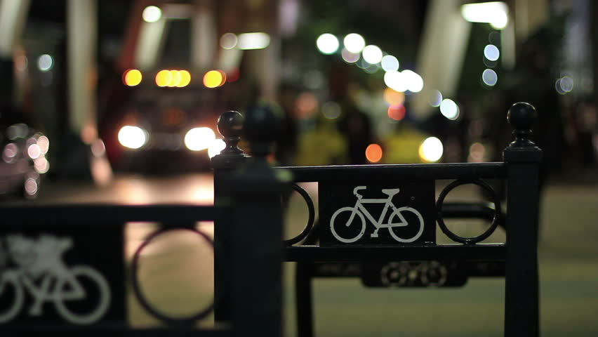 Downtown Calgary bike rack at a popular nightlife spot. Great depiction of city