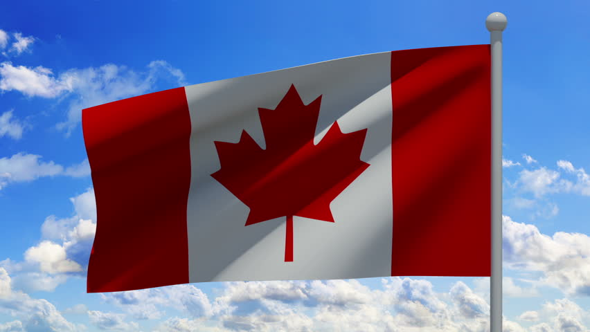 Canadian Flag Waving On Blue Sky With Clouds. Stock ...