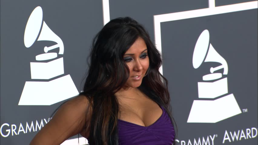 Los Angeles, CA - JANUARY 31, 2010: Nicole Polizzi, Snooki, Jersey Shore walks the red carpet at the Grammy Awards 2010 held at the Staples Center