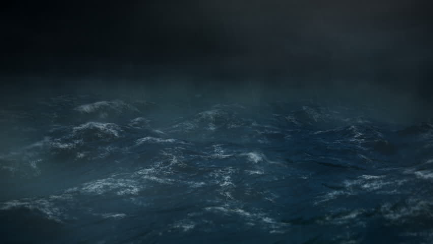 Stormy Sea at Night with Rain - 1080 HD - The camera rocks back and forth and lighting flashes in the middle of the ocean during a heavy storm or hurricane.  Rain drops hit the lens.