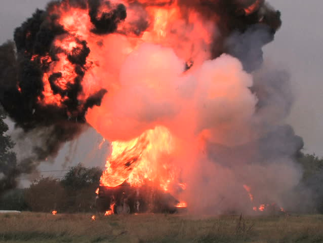 Car explosion, PAL Controlled explosion by a professional pyro effects team.