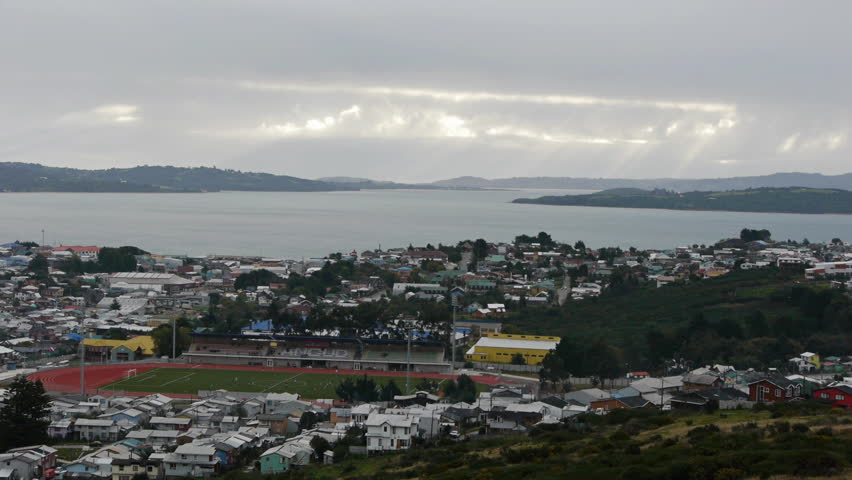 Sunset time lapse of Ancud, Chile - HD stock video clip