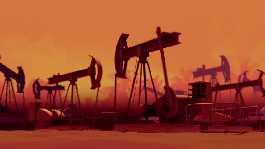 Oil industry pump jacks. Loop ready animation. - HD stock video clip