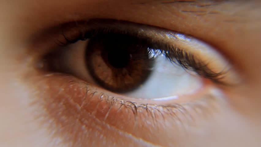 Eye Male 1 Nervous. Close-up of man's eye, nervous movement.