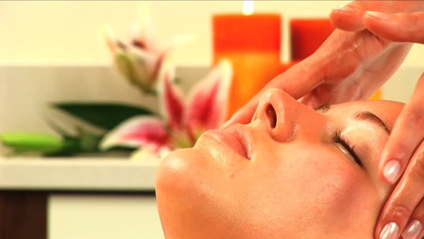 Beautiful blonde girl is pampered at the health spa - HD stock video clip