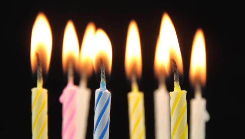 Birthday candles and blowing. - HD stock footage clip
