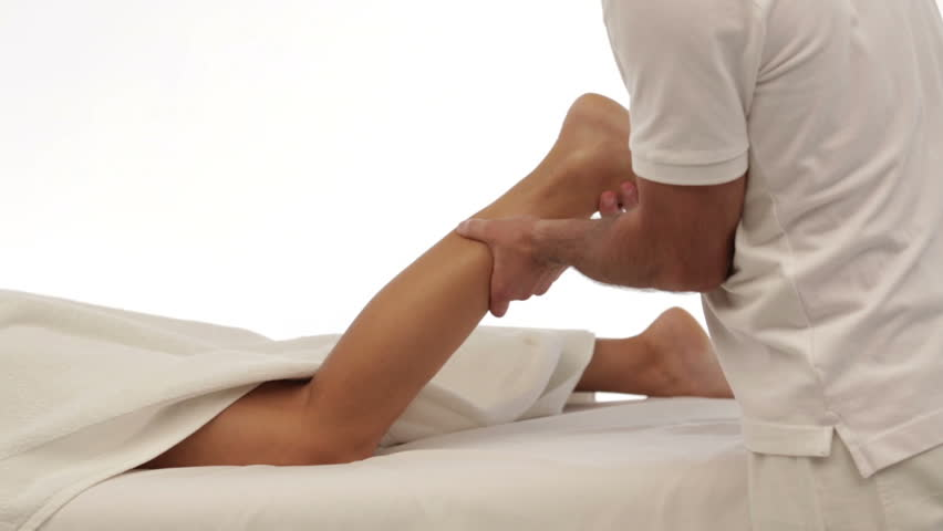 Dolly shot close up isolated leg massage, woman - HD stock video clip