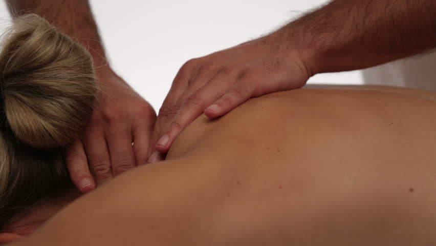 closeup relaxing neck massage, woman, dolly shot - HD stock video clip