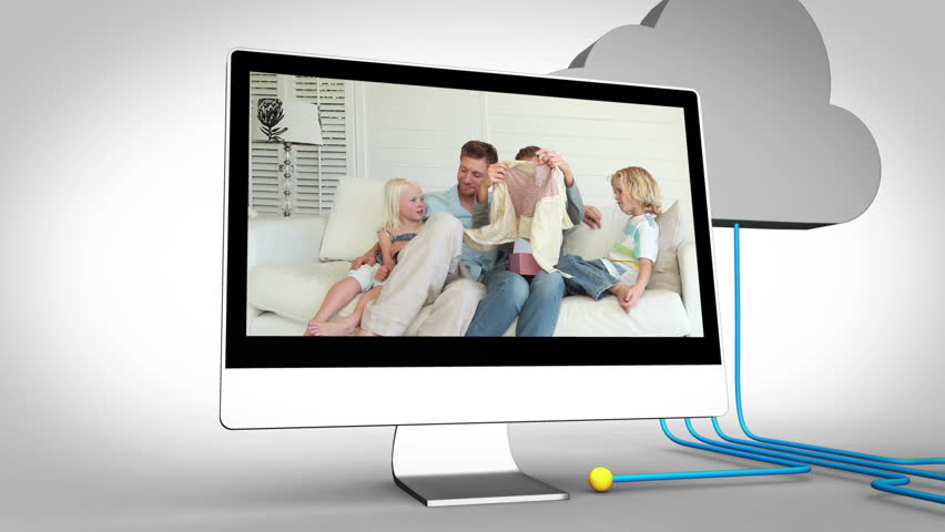 Animation of videos of a family at home - HD stock video clip