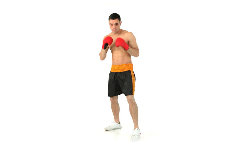 Sportsman boxing with gloves against a white background - HD stock footage clip